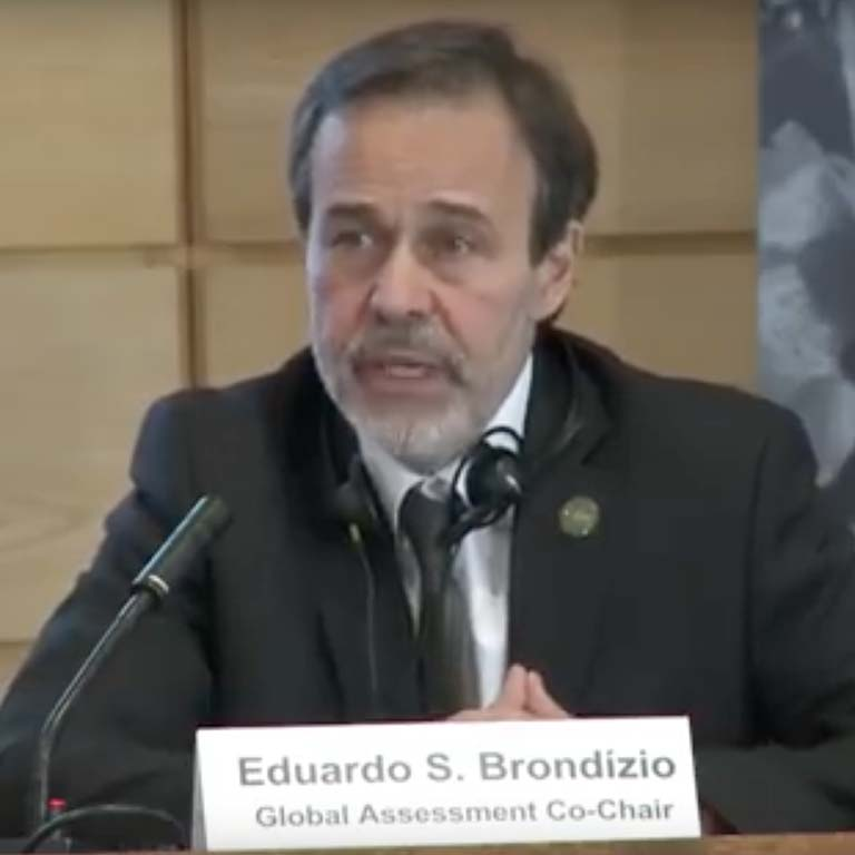 A still image from Eduardo Brondízio's opening presentation during the media launch #GlobalAssessment webcast.
